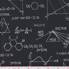 Kaufman Science Fair 14737 2 Black Math Physics Chemistry Equations by the yard #Unbranded