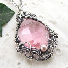 Sterling Silver Pink Crystal Pearl Pendant Necklace Handmade Wire Wrapped Jewelry