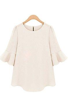 e643aa7d ACEVOG Fashion Women Chiffon Shirt Solid Ruffle Sleeve Blouse Tops Casual  *** You can
