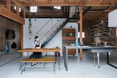 this recently completed dwelling by ALTS design office has been built to feel like the inside of a renovated warehouse. located in japan's shiga prefecture, 'ishibe house' was completed for a young family who enjoyed the idea of flexible open plan living offered by converted former industrial spaces. however, essential modifications such as heat insulation and construction maintenance mean t..