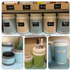 Reuse empty protein shake canisters. Cover with printed contact paper and label.