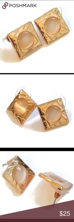 Rose pink Opal square studs A pair of rose gold dipped faux pink Opal stud-post earrings. nejd Jewelry Earrings