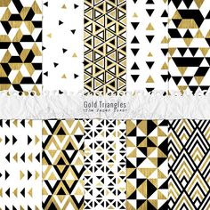Digital Gold Foil Triangles Seamless Patterns, Black, White - 10 Party Digital Layouts with Geometric Triangles Pattern - Instant Download