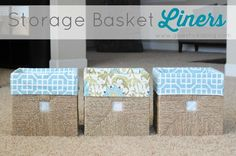 Who loves the storage cubes and stands at IKEA? Here is an easy way to add some color. A quick 15 minute basket liner!