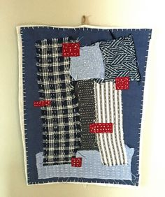 Textile art collage - Patchwork collage random thoughts -  hanging piece by judithadesigns09 on Etsy