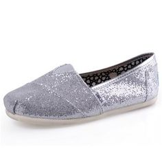 $28.17!! Silver Diamante Toms Canvas Shoes