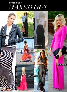 Style tips for wearing maxi dresses & skirts this spring.