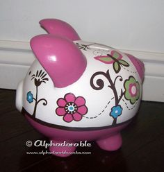 "LARGE Taffy Artisan hand painted ceramic personalized custom piggy bank 9"" Cocalo Taffy design on Etsy, $108.00"