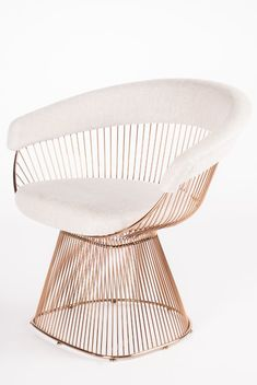 Platner Rose Gold Accent Chair is part of Lc Rose Soleil Platner Rose Gold Accent Chair - Materials Stainless steel, linen Measurements 34 w x 26 5 d x 30 h, 40 pounds Color Rose Gold with cream linen seat Swivel Barrel Chair, Papasan Chair, Chair Cushions, Bar Chairs, Club Chairs, Office Chairs, Gold Chairs, Funky Chairs, Gold Accent Chair