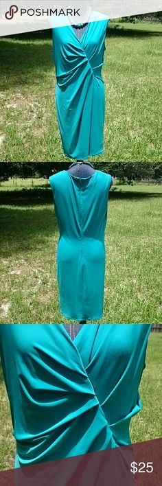 JNY Teal Stretch Sleeveless Summer Dress Pretty stretch teal dress by Jones of New York size 12. Very comfy. Gathered front gives nice accent. Hidden back zipper with hook. Polyester spandex blend. Jones New York Dresses