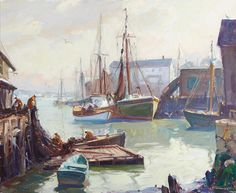 Emile Gruppe (American, 1896-1978) Afternoon Light, Gloucester Harbor 25 x 30in