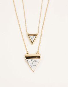 Collar triangualo efecto mármol - Bisutería - Bershka España