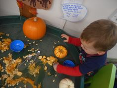 This morning we have been talking all about Halloween! We then went on to carve pumpkins - the children loved exploring the insides while transporting it between different bowls.