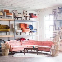 12 Times a Pink Sofa Made the Room – Design*Sponge Shabby Chic Furniture, Home Furniture, Pink Furniture, Pink Sofa, Best Desk, Nyc, Types Of Rooms, Studio, Interior And Exterior