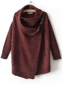 Red Irregular Pockets Draped Collar Loose Blend Sweater