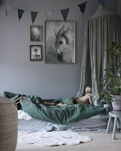 The most calming bedroom in gorgeous shades of grey & green: A stylish colour combo for boys or girls - Petit & Small Bedroom Green, Baby Bedroom, Girls Bedroom, Bedroom Decor, Green Boys Room, Canopy Bedroom, Childrens Bedroom, Bedroom Furniture, Kids Room Design