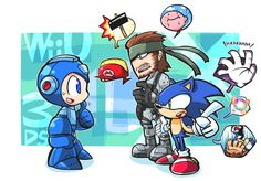 Solid Snake and Sonic give Mega Man some advice for Super Smash Bros.