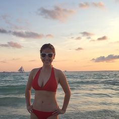This lady in red misses this beautiful place already. ❤️ #Boracay #Philippines #mombod #sunset #beachbum