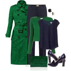 """""""Navy and Green"""" by mclaires on Polyvore"""