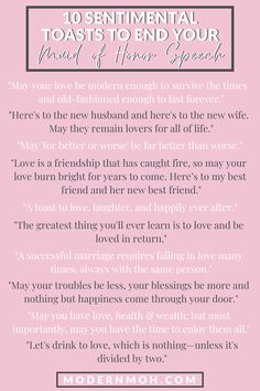 Looking for a unique way to end your maid of honor speech? Check out our 10 favorite sentimental toasts guaranteed to get glasses clinking! Best Friend Wedding Speech, Wedding Speech Quotes, Wedding Humor, Speech For Wedding, Wedding Toast Quotes, Best Man Speech, Wedding Stuff, Bridesmaid Speeches, Bridesmaid Duties