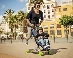Longboard Combined with Stroller Makes Travel Fun for Both Kids and Parents - My Modern Met