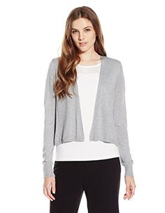 Lark & Ro Women's Long Sleeve Lightweight Short Cardigan Sweater, Heather Grey, Small