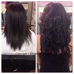 Before and after of virgin Brazilian Famoushair installed on European hair. Installed by Diamond dolls beauty