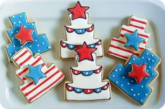 A tutorial for making patriotic cake cookies with stripes and bunting for 4th of July dessert.