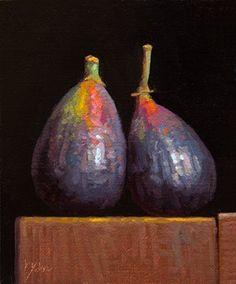 """Daily Paintworks - """"Two Figs (+ The Chronology of Water)"""" - Original Fine Art for Sale - © Abbey Ryan Image Fruit, Image Halloween, Image Nature, Dutch Golden Age, Still Life Oil Painting, Still Life Art, Chiaroscuro, Still Life Photography, Fine Art Gallery"""