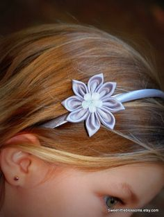 Silver Flower Headband  Kanzashi Blossom by Sweetlittleblossoms