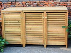 Bentley garden wooden outdoor wheelie bin storage shed cupboard unit - triple Garbage Shed, Garbage Storage, Bike Storage, Cupboard Storage, Shed Storage, Storage Bins, Recycling Storage, Storage Cabinets, Outside Storage