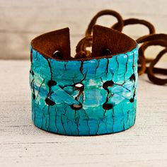 Turquoise Jewelry Cuff OOAK Laced Lacing Leather Wristband by rainwheel on Etsy, $35.00