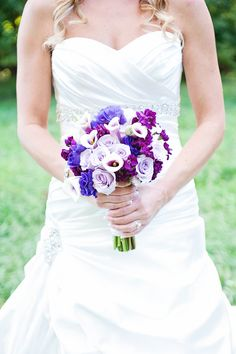 Purple and Blue Wedding Bouquet| Photo by: kelliesaunders.com