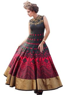 Be the talk of the town with this black and red coloured Banglori silk designer gown #designergowns #partweargowns #ethnicgowns #womensfashion #designergownonline Shop here- https://trendybharat.com/new-black--red-banglori-silk-designer-gown-bhvws-1124?search=designer%20gown&page=4