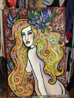 Acrylic painting, by crystal Streit  Blonde with flowers in her hair