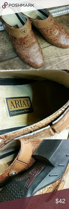 Ariat Western Leather Mules Clogs Slip Ons Adorable western look Ariat Clogs Ariat Shoes Mules & Clogs