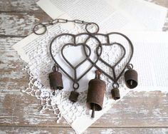 Vintage Rusty Windchimes Rustic Farmhouse by TheHeirloomShoppe