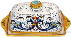 """Rectangular ceramic butter dish with Ricco Deruta pattern, 20cm long x 9cm high x 13cm wide (3.5 in high x 8 in long x 5in wide) Complimentary to all Ricco Deruta products - Holds butter cubes of size: 4-1/4"""" x 2-3/4"""" x 2"""""""