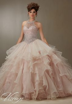 Quinceanera Dress Ruffled Organza Skirt with Pearl Beaded Bodice Pink  Quinceanera Dresses 9c20e0ba3566