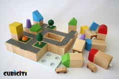 We're always on the lookout for wonderful wooden, eco-friendly kids' toys as an alternative to the plastic stuff that seems to be eating up the toy store Wooden Diy, Handmade Wooden, Handmade Toys, Wooden Building Blocks, Wooden Blocks, Wooden Playset, Kids Wood, Modern Kids, Montessori Toys
