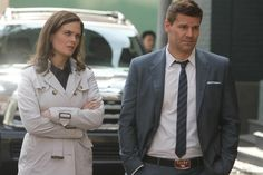 """Booth (David Boreanaz) and Brennan (Emily Deschanel) from """"The Warrior In The Wuss"""" episode of BONES on FOX."""