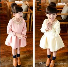 Babies Girls Neckless Ruffles Tutu Party Dresses Fleece Lining Western Candy Color Long Sleeve Stylish Casual Fall Winter Dresse-in Dresses from Mother & Kids on Aliexpress.com | Alibaba Group
