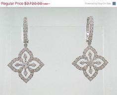 ON SALE 18k White Gold Diamond Earrings 117 ctw by Deejaigems, $2665.60