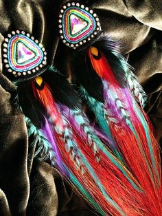 Savage Rose feather beaded earrings (Savage Rose on FB)