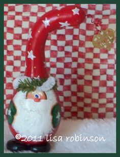 SALE hand painted Christmas Santa Claus Gourd by primchick on Etsy