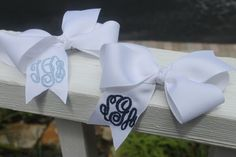 Monogrammed White Boutique Hair Bow by devonalana on Etsy