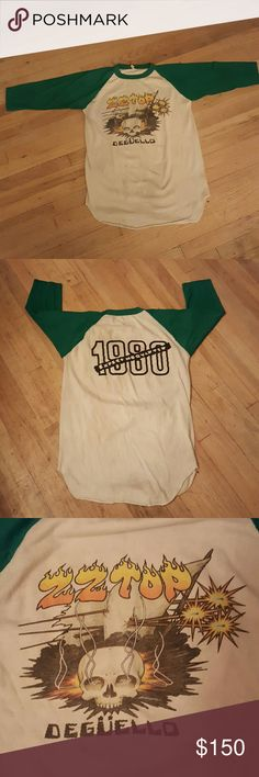 1980 ZZ Top Raglan Jersey Concert Tshirt / Vintage Vintage ZZ Top Vintage Concert Tour tshirt 1980 Shirts Tees - Long Sleeve