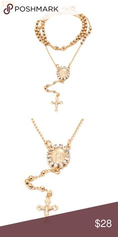 18K Gold Plated Gold Virgin Mary Rosary Necklace 18K Gold Plated Gold Virgin Mary Rosary Necklace Jewelry Necklaces