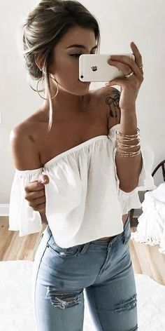 54b866bf2f Ripped jeans white top Denim And White Outfit
