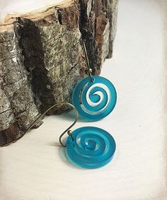 Loving this Teal Spiral Drop Earrings on #zulily! #zulilyfinds